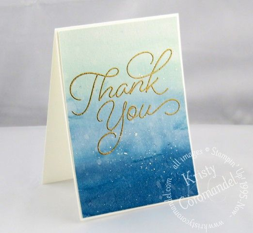 Create a simple gradient watercolour background with Heat Embossing using supplies you already have on hand