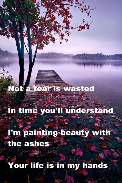 "Not a tear is wasted, In time you'll understand I'm painting beauty with the ashes. You're life is in my hands. - Casting Crowns ""Just Be Held"""