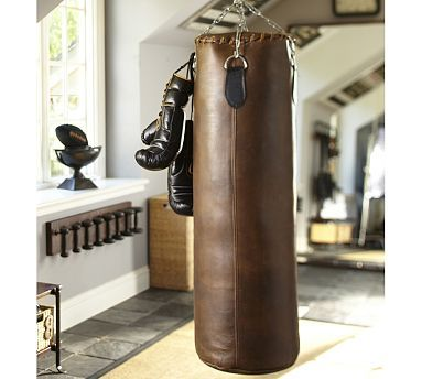 Leather Heavy Punching Bag Potterybarn For The Home At Gym Man Cave