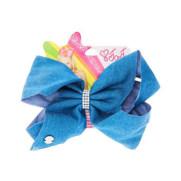 JoJo Siwa Small Rhinestone Keeper Denim Blue Hair Bow ($10) ❤ liked on Polyvore featuring accessories, hair accessories, sparkly hair accessories, hair bow, siwa, rhinestone hair bows and sparkly hair bows