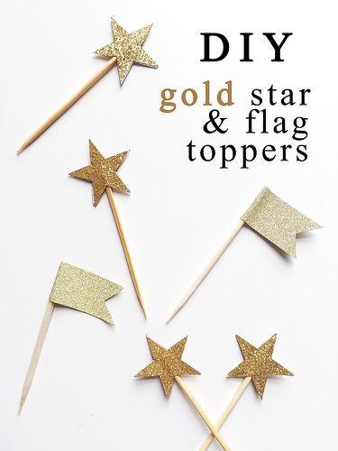 Cheap, quick and simple DIY cupcake gold star and flag toppers for twinkle twinkle little star party! Perfect for first birthdays or baby showers!