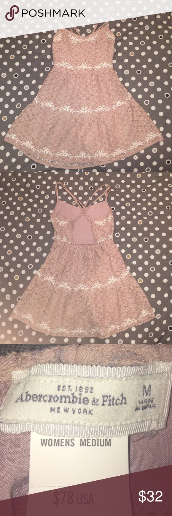 Super cute dress from Abercrombie and Fitch! This dress is a blush color and features beautiful crochet detail with white accents. Abercrombie & Fitch Dresses Backless