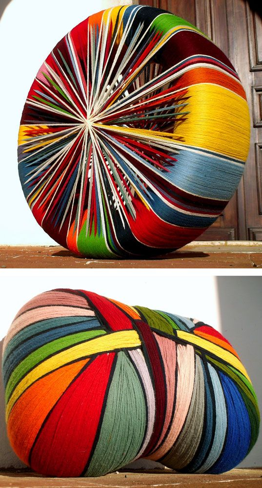 Wool pouf - tightly bound around discarded tyre by John Bruno Vine
