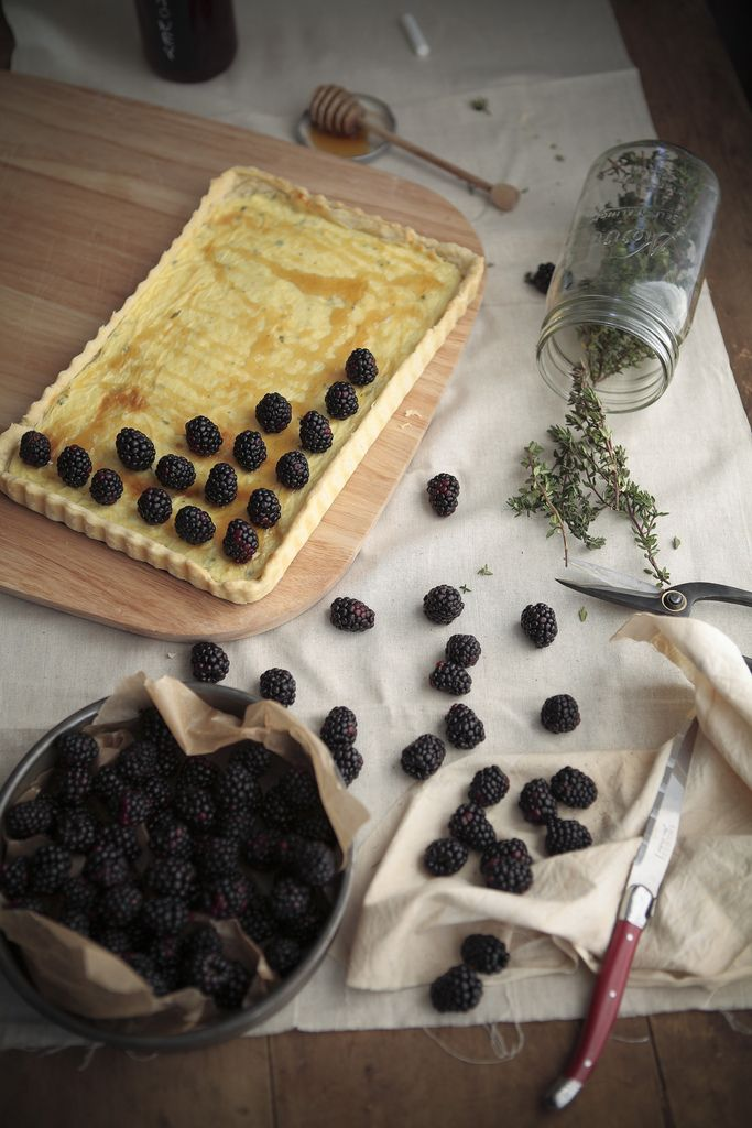 black berry goat cheese tart