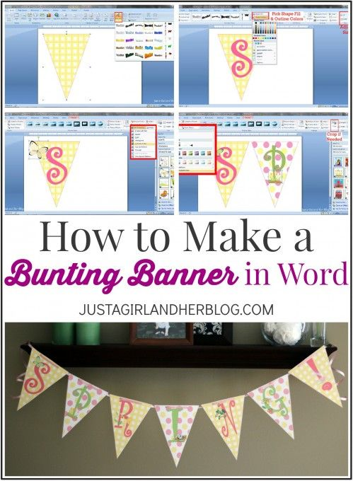 I can't believe how easy it is to make my own bunting banner in Word! | JustAGirlAndHerBlog.com