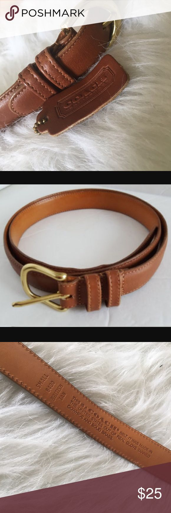 Coach Leather Tan Belt A size small tan leather belt by COACH Made in The US. The belt has some 2 small scratches as you can see on the pictures, but noticeable when wearing it measure 32in. Long but fits more sizes like 22-26. Coach Accessories Belts