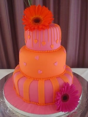 pink and orange wedding themes | Orange and pink three tier wedding