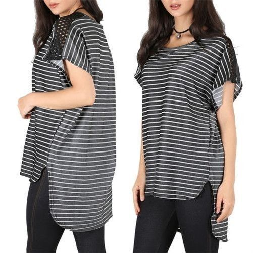 Womens Baggy Top Ladies Oversized Net Insert Batwing Stripes High Low T Shirt