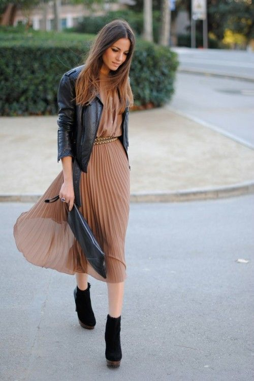 Nude fine pleated skirt with black leather jacket - perfect