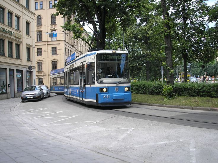 Fancy Tram Adtranz class in Munich on Route at Maxmonument in took this tram to Tivoli Str and walked to the Englischer Garten for a beer by the