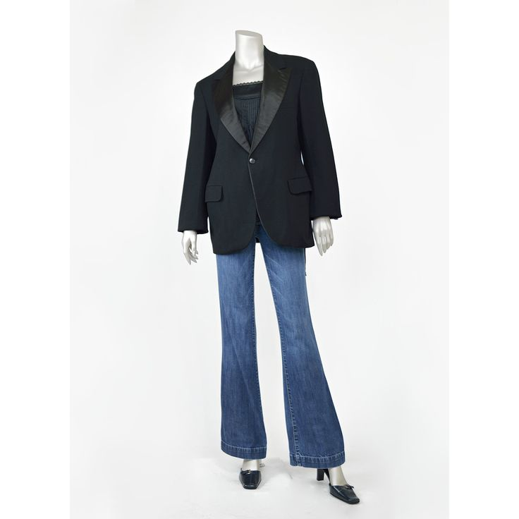 Vintage Black Tuxedo Jacket - Satin Trim Black Wool Blazer Suit Jacket - 1970s 70s Blazer - Evening Wear Formal Jacket - Wool Jacket - Black Blazer (Medium - Medium large)  #vintage #clothing #unisex #womens #mens #menswear #fashion #style