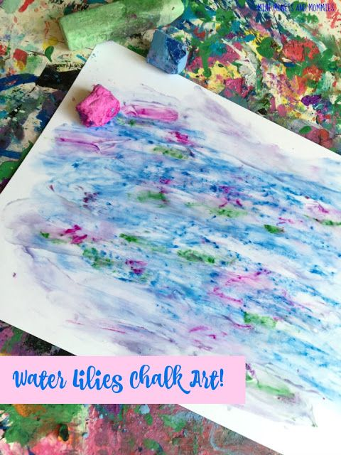 Make a famous artist themed chalk drawing, based on Claude Monet's Water Lilies. This kids' art activity features DIY finger paint with an art viewing exploration.