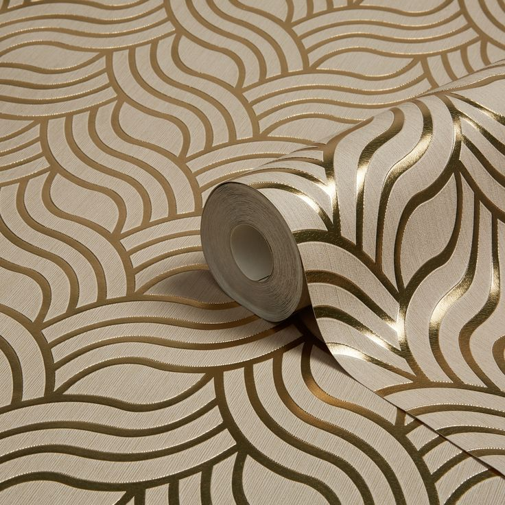 Muriva Precious Silks Gold Geometric Metallic Wallpaper | Departments | DIY at B&Q
