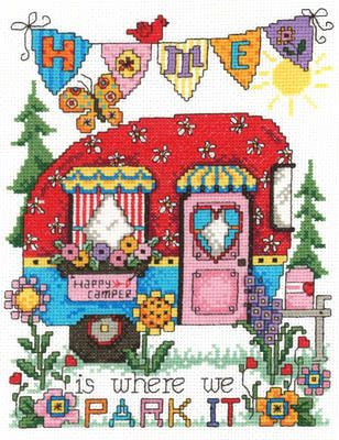 Imaginating Happy Camper (2949) - Cross Stitch Pattern. Happy Camper - Our Little Piece of Paradise. Stitched on 14 Ct White Aida with DMC floss. The stitch cou