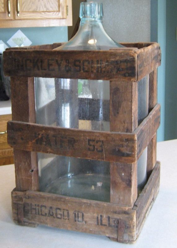 Vintage 30 S Glass 5 Gallon Water Bottle Amp Wood Crate