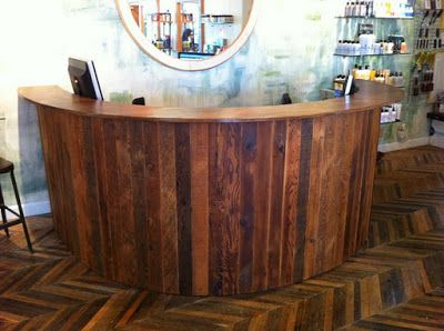 Rustic Salon Decor   Salvaged Chic of the Week: Custom Reclaimed Counter Keter Salon