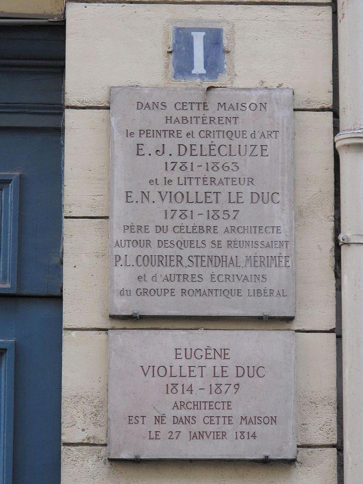 Plaque Viollet-le-Duc 1, rue Chabanais