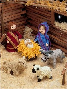 "Stitch this wonderful manger scene for your Christmas mantel. Pattern included for Baby Jesus, manger, Mary, Joseph, ram/ewe/lamb, donkey and ox. Size: Ranges from 3"" to 9"". Made with fine (sport) weight and medium (worsted) weight yarns and sizes E/4/3.5mm, F/5/3.75mm and G/6/4mm hooks. Skill Level: Intermediate"