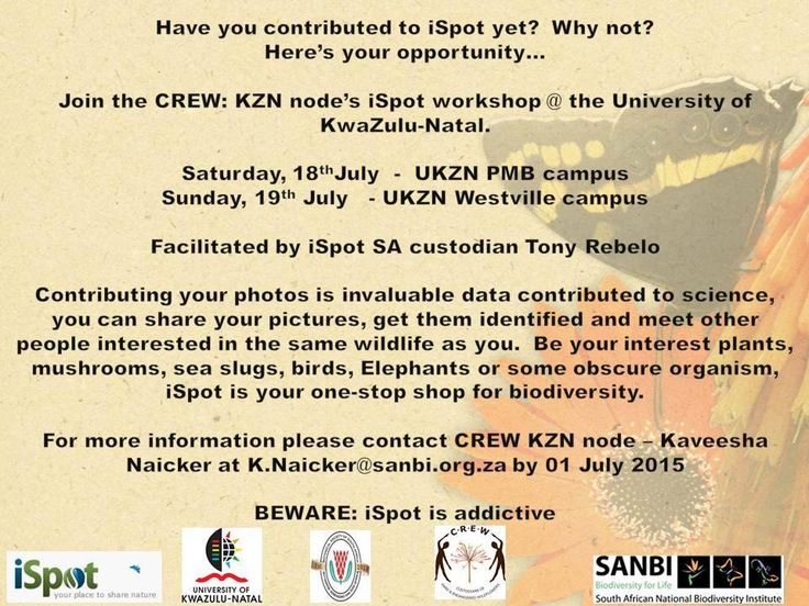 Would you be interested in joining the iSpot community - an amazing collaboration by people around the world to find and help identify wildlife? Join the CREW KZN node either in PMB or DBN on the weekend of 18-19 July. Book your spot now as space is limited.