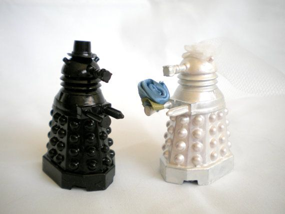 Dalek Cake Toppers Doctor Who Geeky Wedding Cake by HausofAriella, $50.00Wedding Cake Toppers, Metals White, Brides Grooms, Dalek Cake, Geeky Cake, Doctors Who, Wedding Cakes, Dr. Who, Dalek Toppers