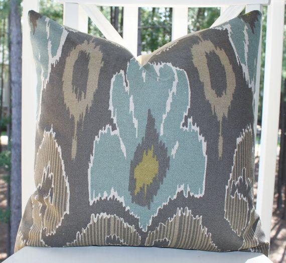 Decorative Pillow Cover - 18 x 18 Blue Brown Grey Ikat Pillow -  Modern Throw Pillow