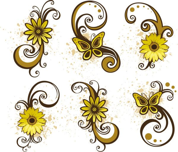 Abstract Daisy Tattoo: Floral Swirls Vector Set Of 6