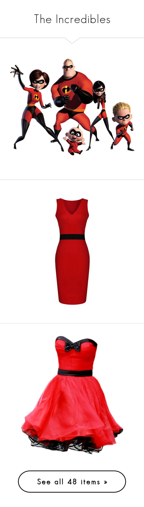 """""""The Incredibles"""" by disneydressing ❤ liked on Polyvore featuring disney, characters, incredibles, the incredibles, cartoons, dresses, red, knee length dresses, sexy dresses and red v neck dress"""