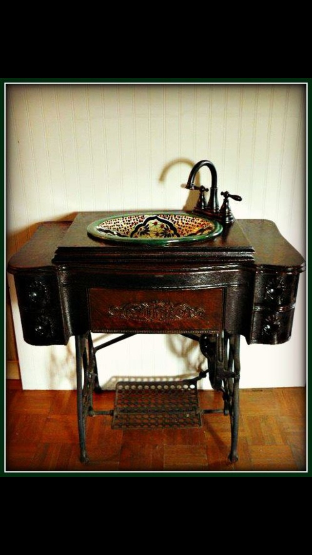 Old sewing machine turned sink