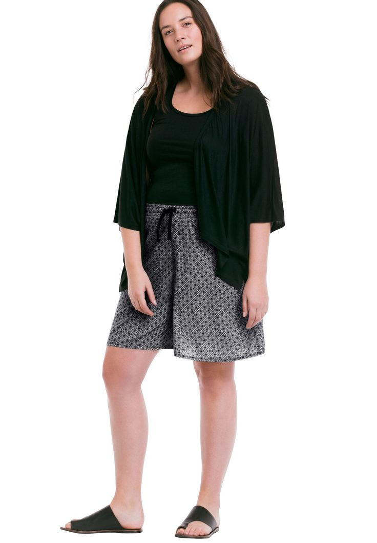 Wide Leg Knit Shorts by Ellos® - Women's Plus Size Clothing