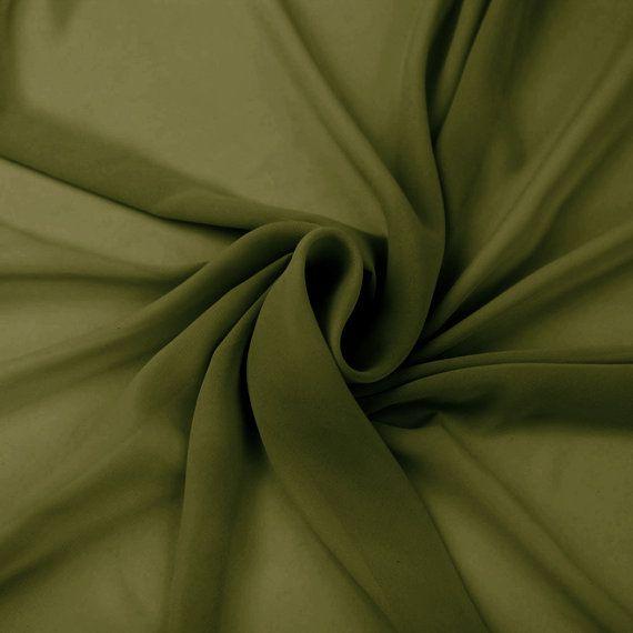 Olive Solid Hi-Multi Chiffon Fabric by the Yard by StylishFabric