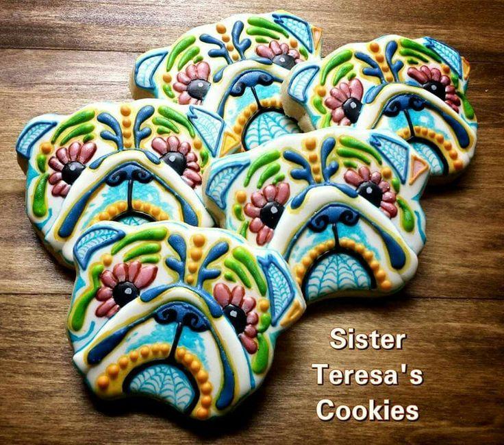 Sister Teresa's Custom Cut Cookies: Dia de Los Muertos Bulldog cookies.
