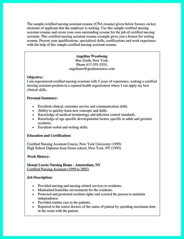 nice u201cMention Great and Convincing Skillsu201d, Said CNA Resume Sample - certified nursing assistant resume sample