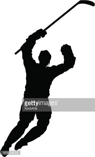 Silhouette of a hockey player celebrating after a goal. Simple shapes for easy printing, separating and color changes. File formats: EPS and JPG
