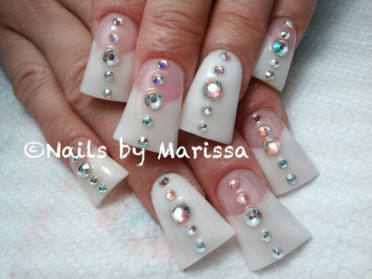 Flared Acrylic nails #pink and white #french #AB rhinestones