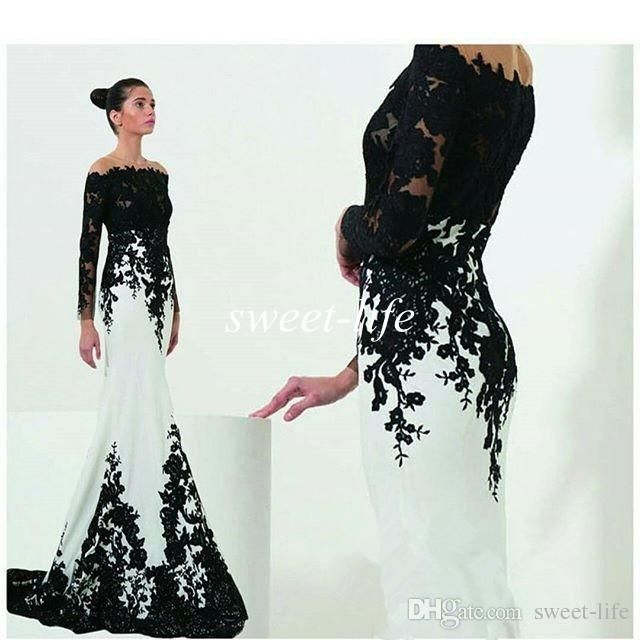 Zuhair Murad Evening Dresses with Long Sleeve Black And White Lace Off the Shoulder 2016 Mermaid Occasion Dresses Celebrity Party Prom Gowns Online with $145.14/Piece on Sweet-life's Store | DHgate.com