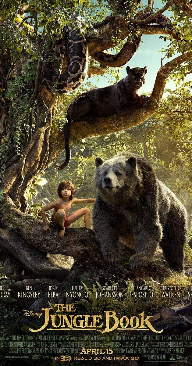 Directed by Jon Favreau.  With Scarlett Johansson, Idris Elba, Lupita Nyong'o, Bill Murray. An orphan boy is raised in the jungle with the help of a pack of wolves, a bear, and a black panther.