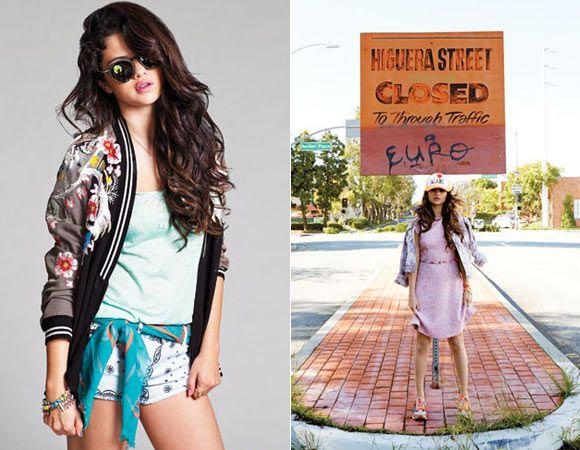 No ensaio, Sel abusa de outras tendências que já estão bombando nas vitrines – e também vão pegar no seu guarda-roupa: óculos de Sol de aros redondos, jaqueta estilo baseball, boné e lenço. Amamos!