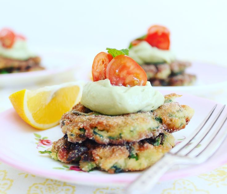 Light and Tasty Zucchini, Pea, and Haloumi Fritters w/ Avocado Mousse