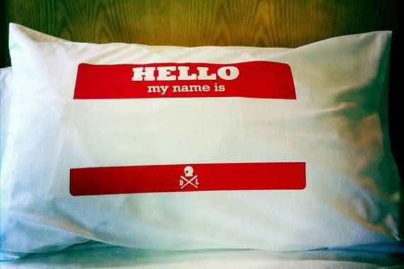 Hello my name is single pillowcase by dustysandlulu on Etsy, $20.00