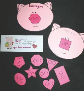 Here's a pig-themed set of materials for working on 2-D shapes.