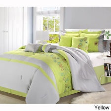 Lime Green Grey Queen 8 P Comforter Set Bed In A Bag Girls
