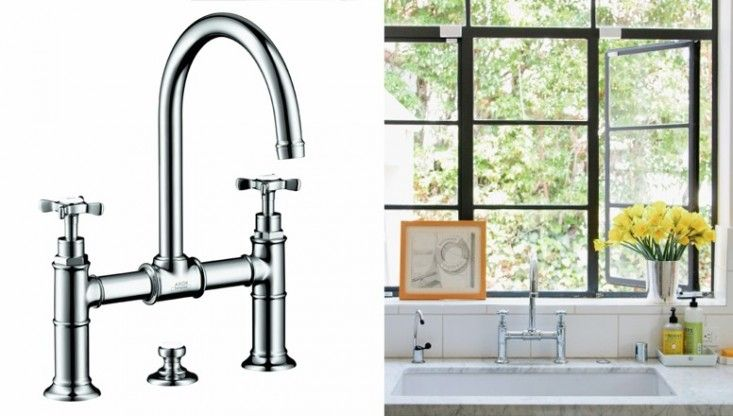 10 Easy Pieces: Architects' Go-To Traditional Kitchen Faucets - Remodelista  Axor Montreaux Widespread Bridge Faucet from Hansgrohe for Weintraub's LA overhaul shown here. The faucet is available on Amazon in three finishes starting at $910.47 for chrome