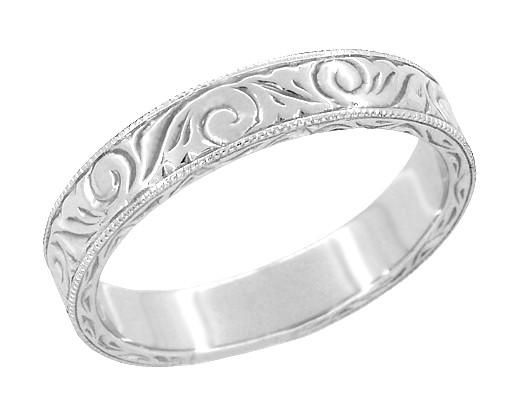 mens art deco scrolls engraved wedding band in platinum unique wedding ringsunique - Unique Wedding Rings For Men