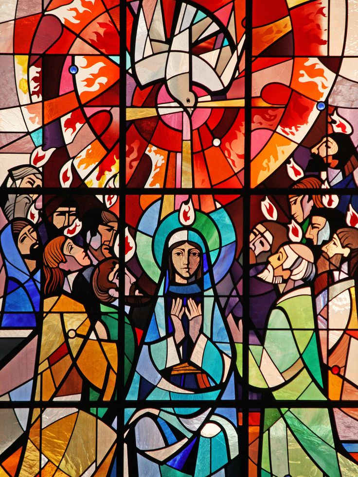 https://flic.kr/p/6snDh2 | Pentecost | A modern stained glass window from St Aloysius' church in Somers Town, London of the Holy Spirit descending on Our Lady and the apostles, as is recounted in Acts 2:1-11.  Today, 31 May 2009, is Pentecost Sunday, when the Church commemorates the Descent of the Holy Spirit on the apostles, giving her new life and power to proclaim the Gospel of the risen Lord.