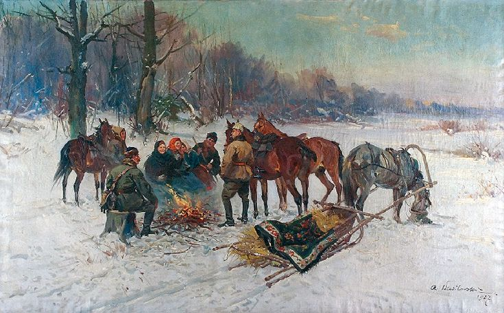 Czesław WASILEWSKI (ok. 1875-1946/47)  Przy ognisku, 1927 olej, płótno; 98,5 x 160 cm; sygn. i dat. p. d.: Cz. Wasilewski / 1927