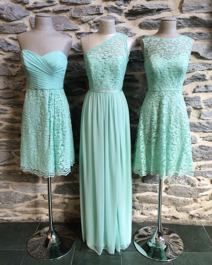 Mix and match your bridesmaids in various short and long lace dresses! Mint is the perfect summery hue for the warm-weather wedding you're planning. | Mint mesh and lace bridesmaid dresses by David's Bridal