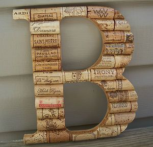 Wine Cork Letter Initial Monogram B ~Custom Handmade Home Wall Wedding Decor