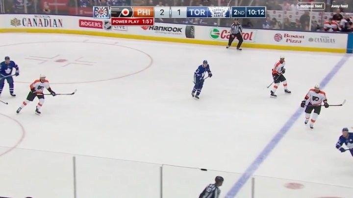 Leo Scumarov hits Ghost by behind. No penalty on the play and Ghost got an upper body injury #philadelphiaflyers #philadelphia #flyers #nhl #ahl #hockey #leokomarov #shaynegostisbehere #toronto #torontomapleleafs #mapleleafs