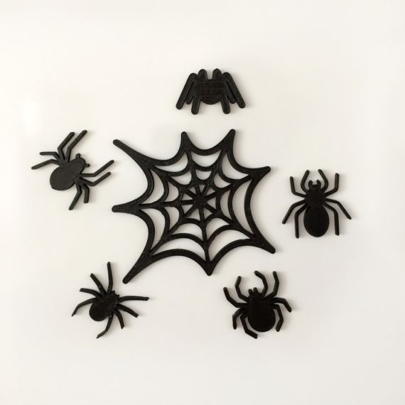 3d printing Magnetic Spiders Cool, original set of spider magnets. The set contains 5 spiders and 1 spiderweb. The magnet itself is embedded into the plastic, so it would not scratch or damage your photos or fridge!