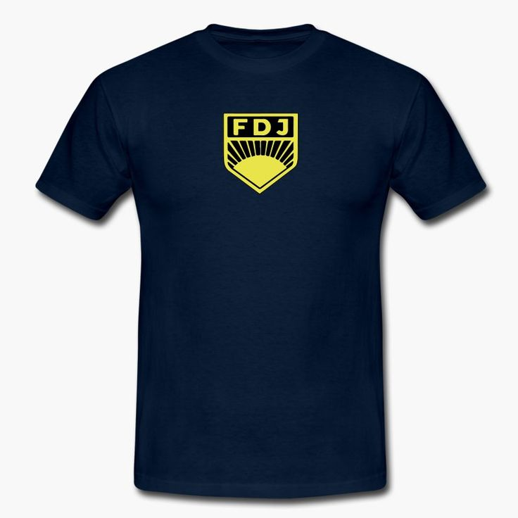 "Have a soft spot for East Germany (DDR / GDR) and their youth organization ""Freie Deutsche Jugend (FDJ)""? The suggested color for the t-shirt is blue of course. tags: DDR, communism, soviet union, communist https://shop.spreadshirt.fi/revolt-noir/""fdj""-A106435725?appearance=4"